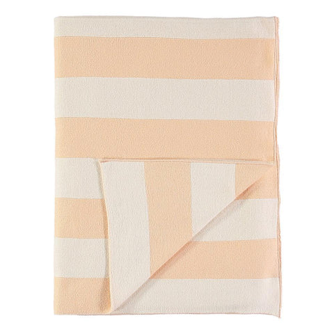 Knitted Blanket - Organic - Peach Stripes