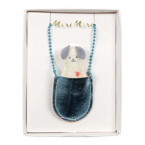 Necklace - Dog In Pocket - Blue