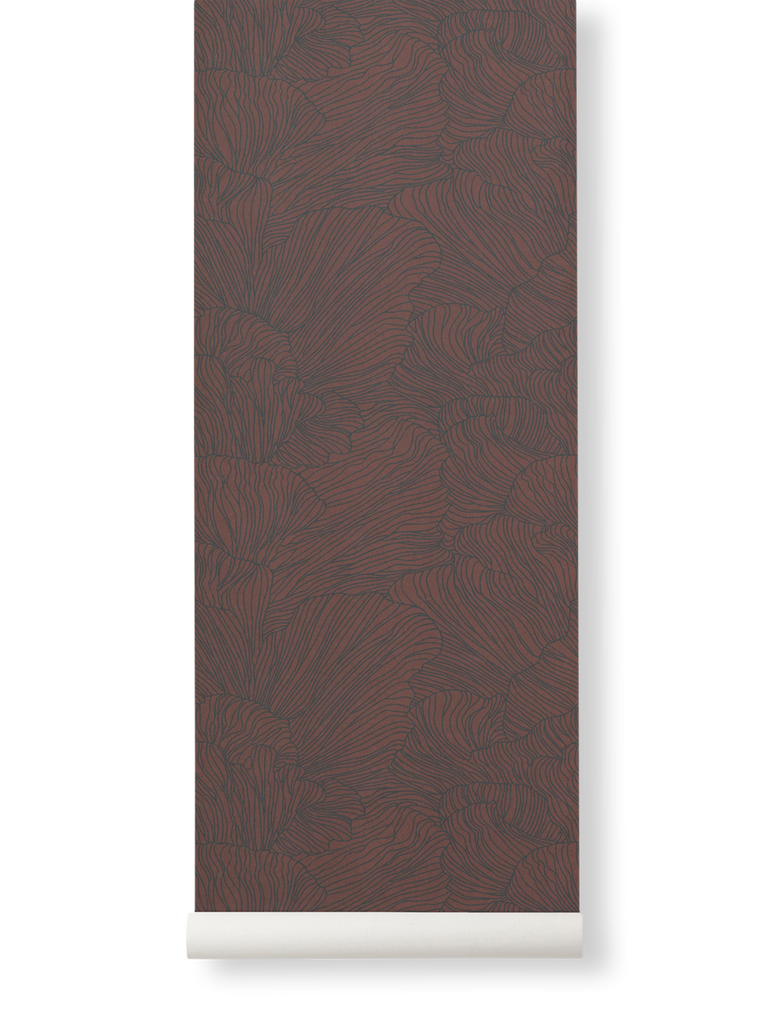 Wallpaper Roll - Coral - Bordeaux & Dark Blue