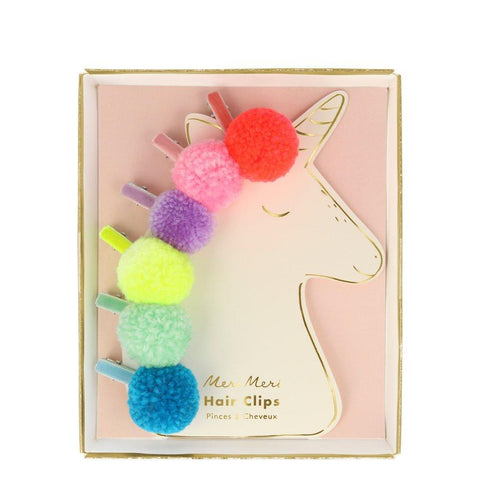 Hair Clips - Pom Pom Unicorn
