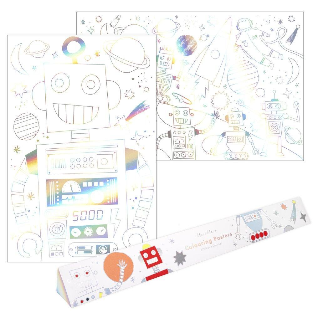 Colouring Poster - Silver Foil Illustration - Space