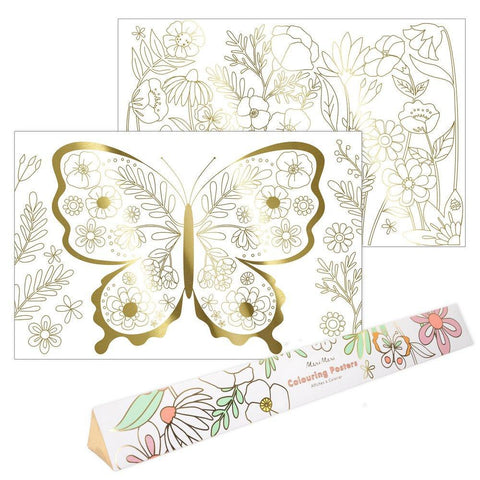 Colouring Poster - Gold Foil Illustration - Butterfly