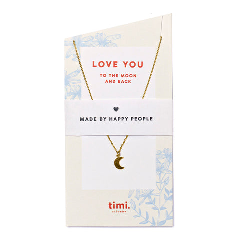 Necklace - Moon - Love you - Gold