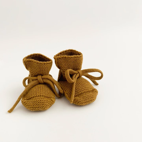 Baby Booties With Lace - Mustard