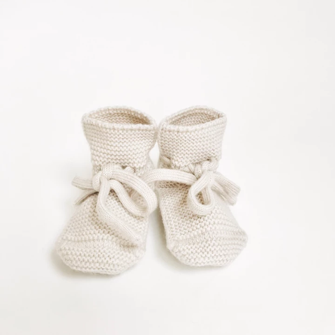 Baby Booties With Lace - Off-White