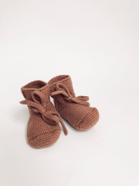 Baby Booties With Lace - Brick
