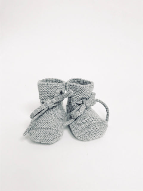 Baby Booties With Lace - Grey Melange