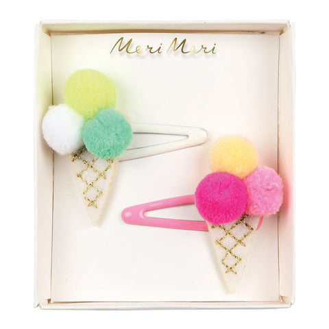 Hair Clips - Ice Cream with Pom Poms