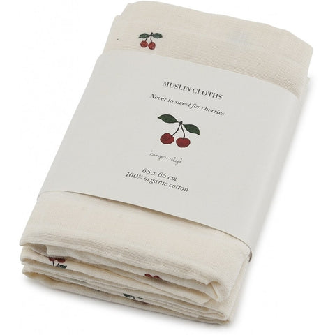 Muslin Cloths - Set of 3 - Organic Cotton - Cherry
