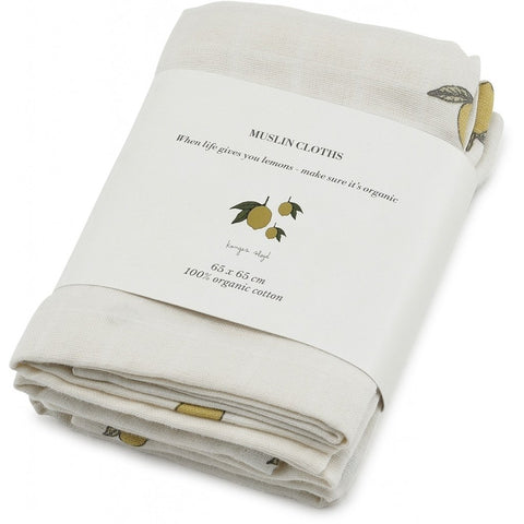 Muslin Cloths - Set of 3 - Organic Cotton - Lemon