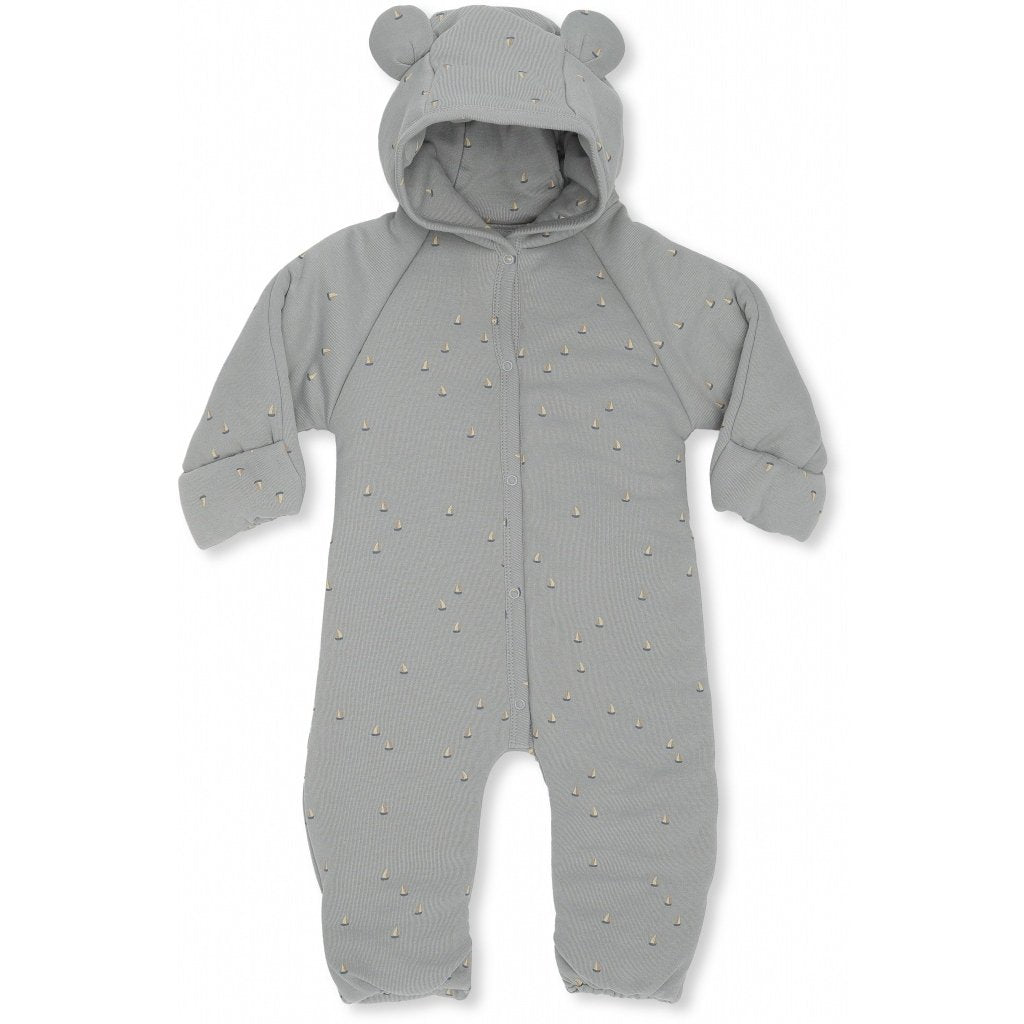 Onesie with Hood - Padded - Boats - French Blue