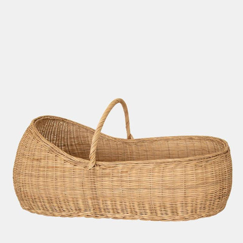 Mose Basket W/Organic Cotton Mattress - Natural Rattan - Lyra