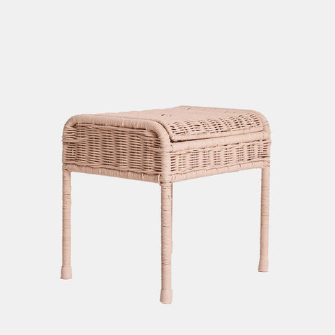 Stool/ Side Table - Handwoven Rattan - Rose