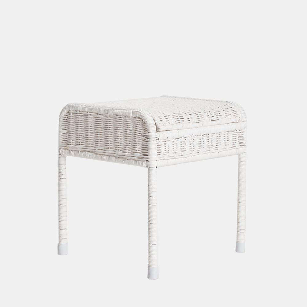 Stool/ Side Table - Handwoven Rattan - White