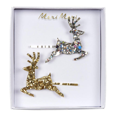 Hair Slides - Reindeer - Gold & Silver