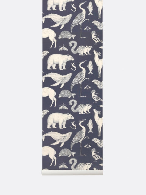 Wallpaper Roll - Animals - Dark Blue - Katie Scott