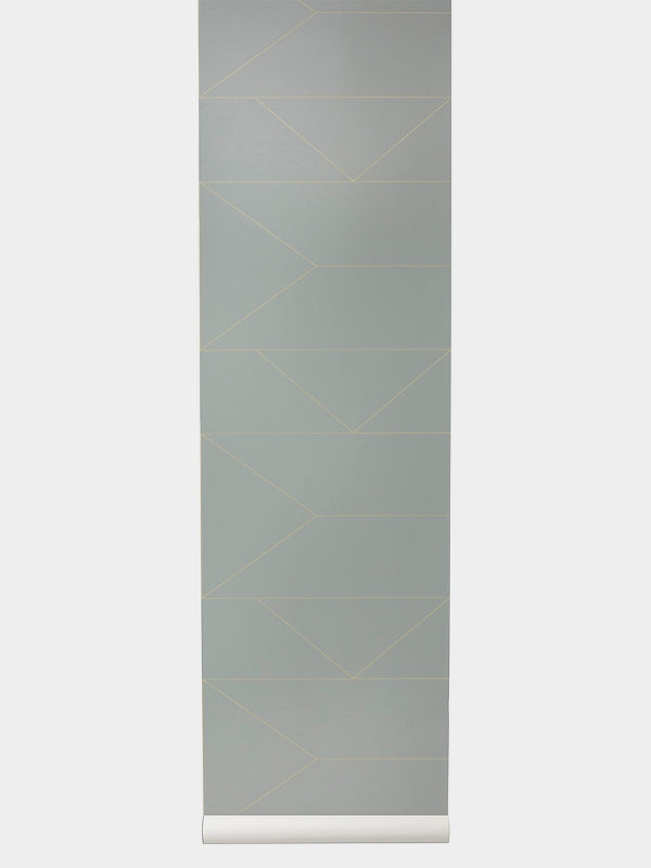 Wallpaper Roll - Lines - Grey & Gold