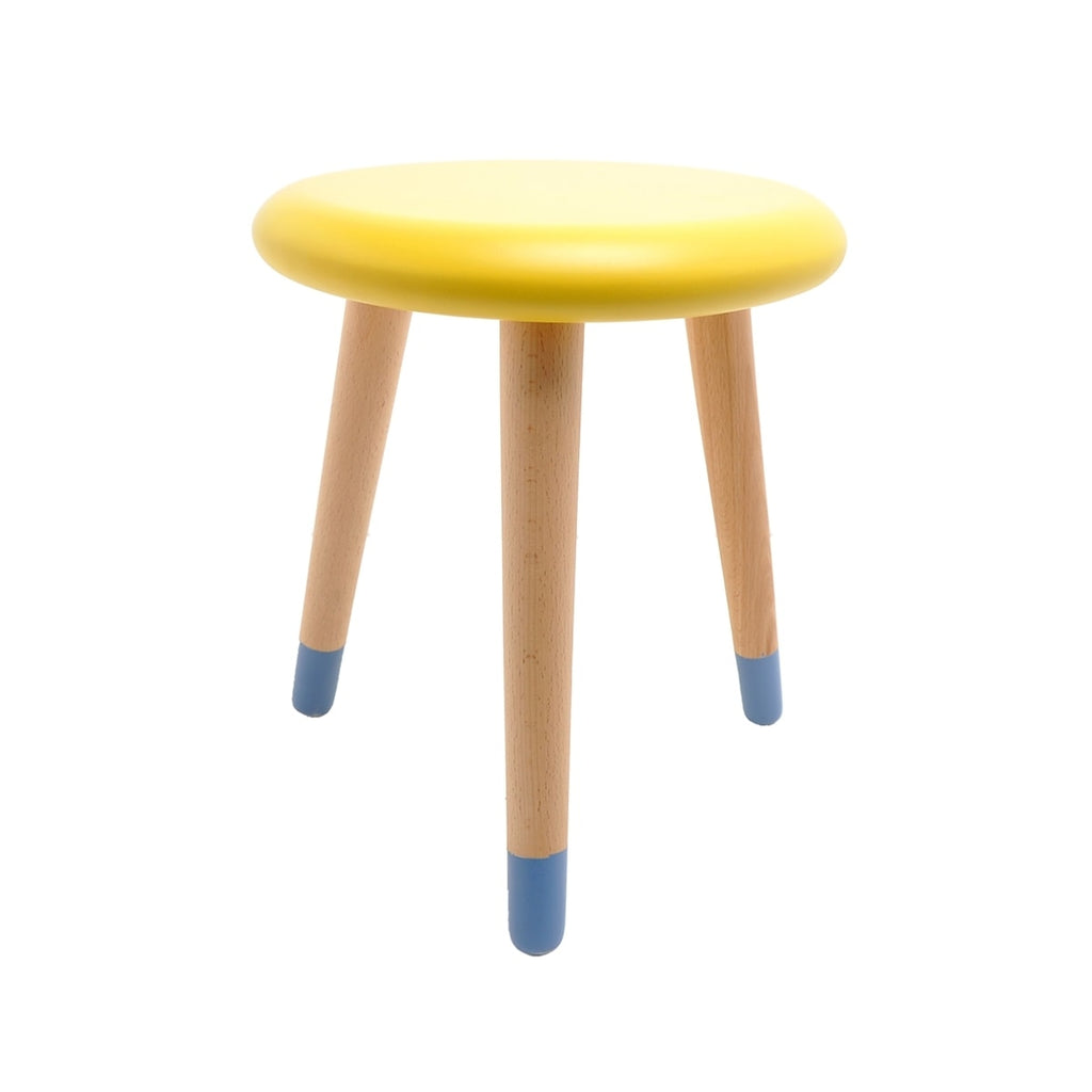 Stool - Alice - Beech Wood - Lemon Yellow & Blue Paradise