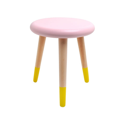 Stool - Alice - Beech Wood - Light Pink & Yellow