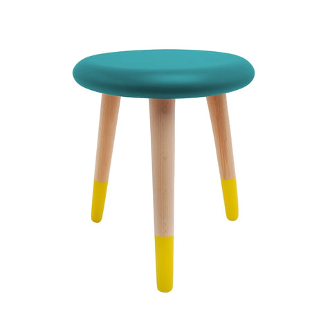 Stool - Alice - Beech Wood - Petrol Blue & Yellow