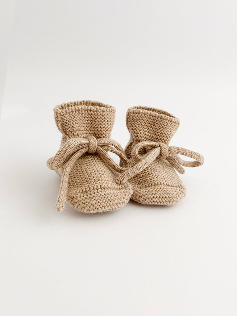 Baby Booties With Lace - Sand