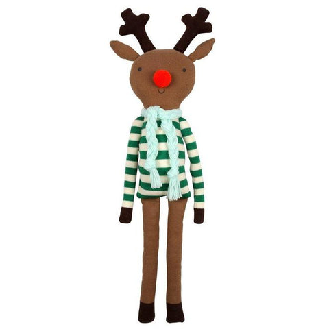 Soft Toy - Jingle the Reindeer - Green Stripes