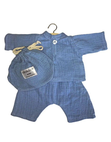Doll Top & Trousers Set - Mao - Cotton - Artic Blue