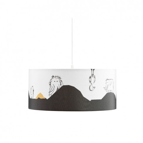 Pendant Lamp with Mammoths & Birds