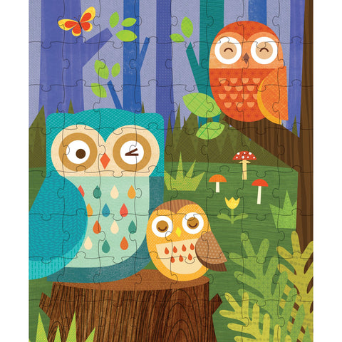 Puzzle in a Tin/Coin Bank - Owl Family