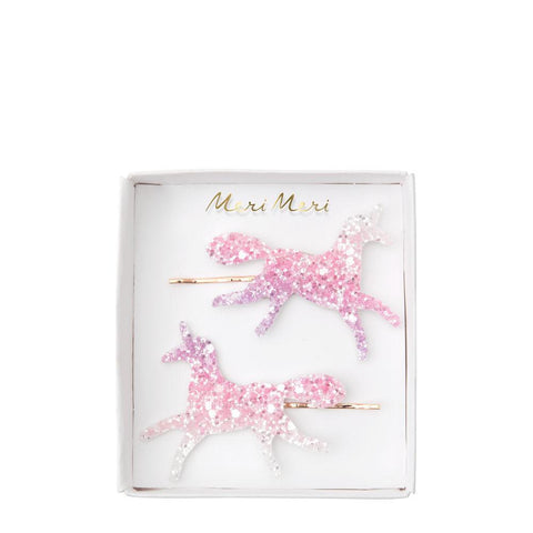 Hair Slides - Unicorn Omber Glitter