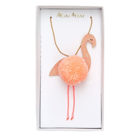 Necklace - Flamingo W/ Pom Pom