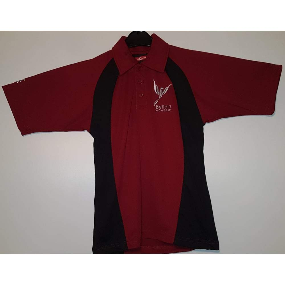 Belfairs Academy - Maroon/Black Sports Polo Shirt with School Logo - Schoolwear Centres | School Uniform Centres