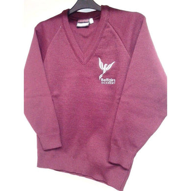 Belfairs Academy -  V-Neck Knitted (Knitwear) Maroon Jumper with School Logo | School Uniform Centres