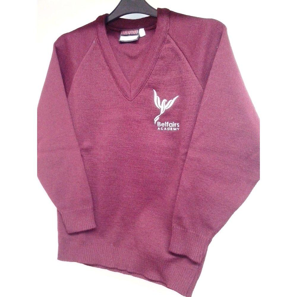 Belfairs Academy -  V-Neck Knitted Maroon Jumper with School Logo - Schoolwear Centres | School Uniform Centres