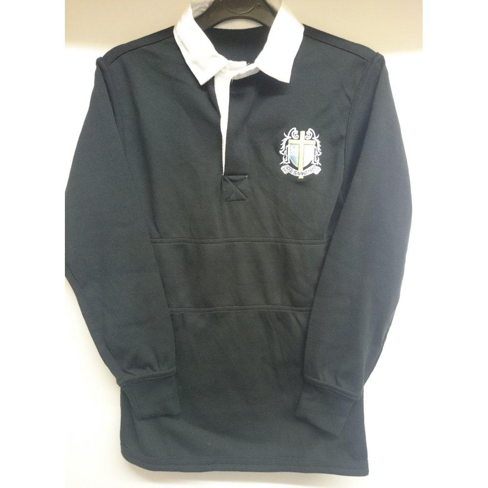 "St Thomas More High School - Rugby Top with School Logo BLACK/WHITE / 50"" School Uniform Centres RUGBY TOP school-uniform-centres.myshopify.com Schoolwear Centres"
