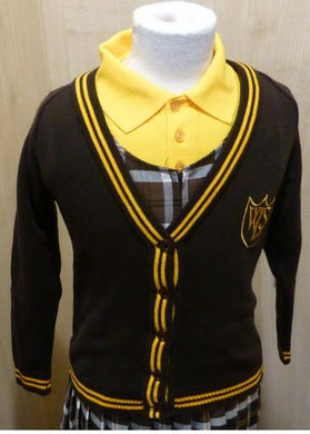 West Leigh School - 50/50 Knitted Cotton Cardigan with School Logo BROWN / GOLD / 36 School Uniform Centres Knitwear Cardigan school-uniform-centres.myshopify.com Schoolwear Centres