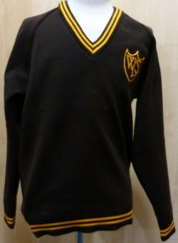 West Leigh School - Acrylic Knitted Jumper with School Logo BROWN / GOLD / 40 School Uniform Centres Knitwear Jumper school-uniform-centres.myshopify.com Schoolwear Centres