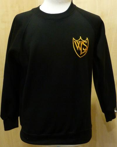West Leigh School - Black (R-neck) Sweatshirt with School Logo | School Uniform Centres