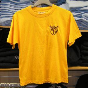 West Leigh School - Gold (P E ) T-Shirt with School Logo - Schoolwear Centres | School Uniform Centres