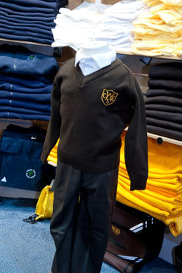 The Wickford Infant School - Brown Knitwear (Knitted) Jumper with School Logo | Schoolwear Centres