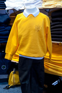 The Wickford Infant School - Sweatshirt (R-neck & V-neck) Jumpers with School Logo GOLD (R-neck) / 44 School Uniform Centres Sweatshirts school-uniform-centres.myshopify.com Schoolwear Centres