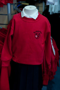 Lee Chapel Primary School - Red Crew Neck Sweatshirt Jumper with School Logo - Schoolwear Centres | School Uniform Centres