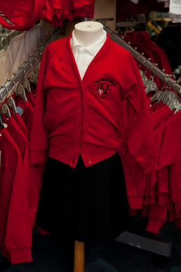 Lee Chapel Primary School - Red Sweatshirt Cardigan with School Logo - Schoolwear Centres
