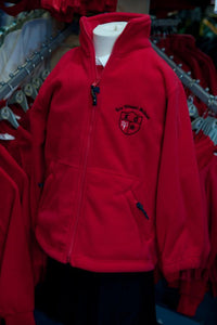 Lee Chapel Primary School - Red Fleece Jacket with School Logo - Schoolwear Centres | School Uniform Centres
