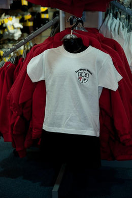 Lee Chapel Primary School - White P E T-Shirt with School Logo | School Uniform Centres