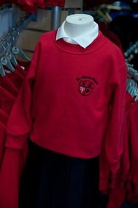 Lee Chapel Primary School - Red Nursery Sweatshirt with School Logo | Schoolwear Centres