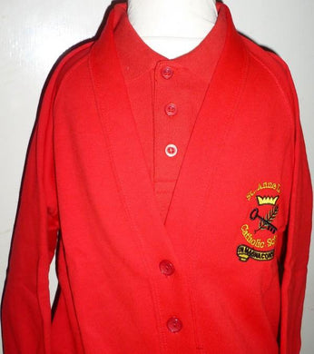 St Anne Line Catholic Juniors School - Red Sweat Cardigan with School Logo | School Uniform Centres