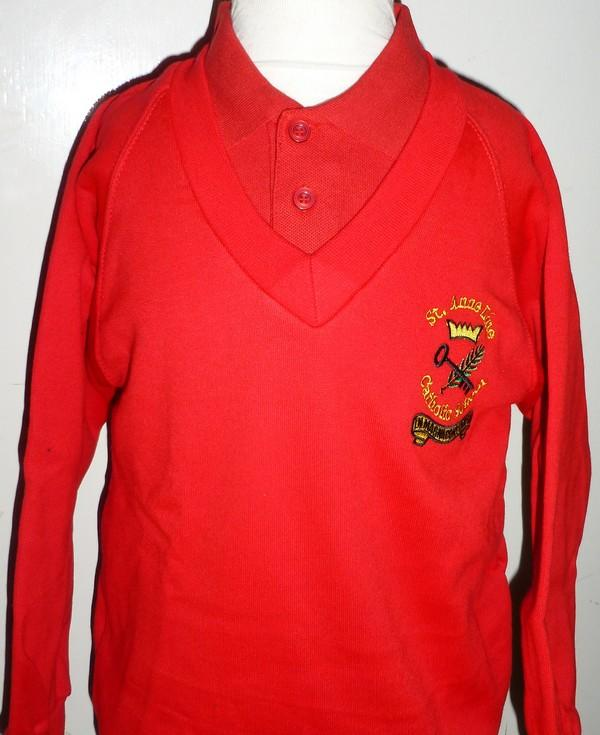 St Anne Line Catholic Juniors School - Red Sweatshirt V-neck Jumper with School Logo | School Uniform Centres