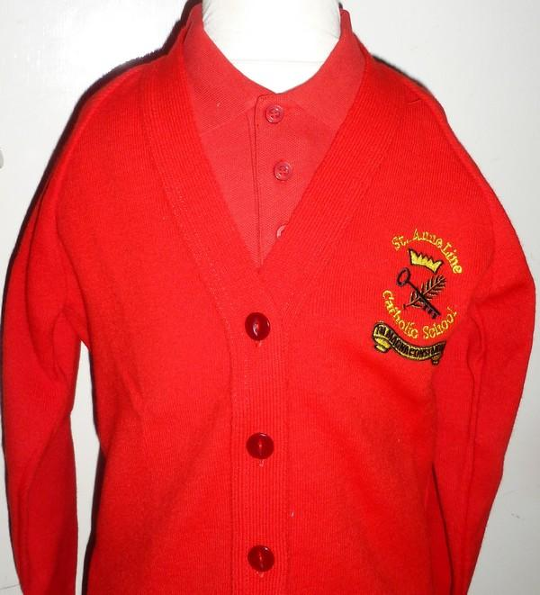 St Anne Line Catholic Juniors School - Red Knitted Cardigan with School Logo | School Uniform Centres