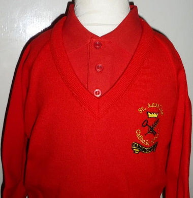 St Anne Line Catholic Juniors School - Red Knitted Jumper with School Logo | School Uniform Centres
